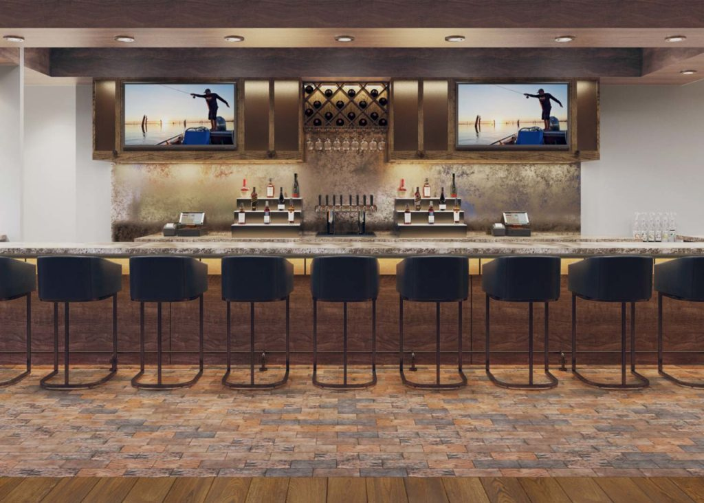 long array of bar stools in front of a long bar with bottles in the back