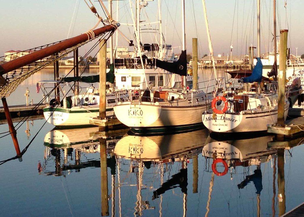early morning town docks in Beaufort