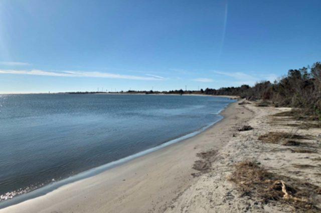 sandy shore of the radio island beach