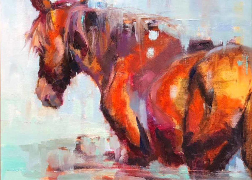 Abstract horse painting that was showcased at the annual Beaufort Holiday Art Walk