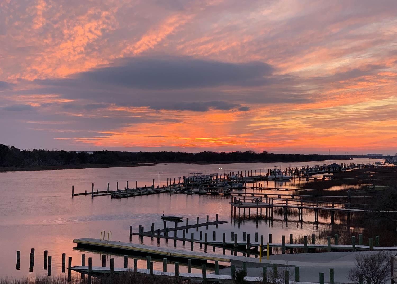 Beaufort NC Sunset over docks