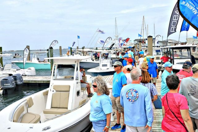 Visitors walk Morehead City Boat show