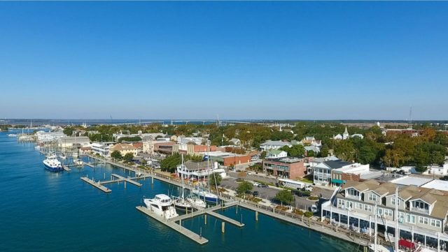 large waterfront of Beaufort NC