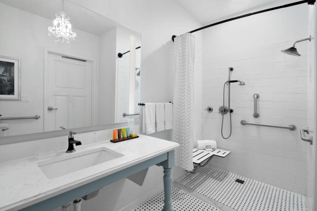 ADA Roll-in shower in guestroom