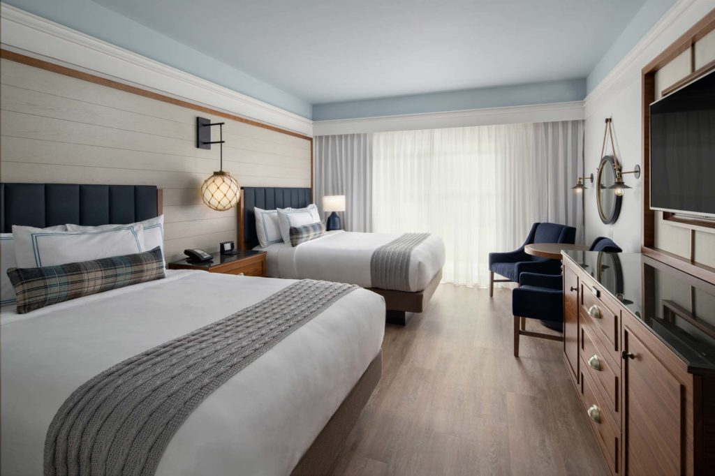 Hotel guestroom with double queen beds