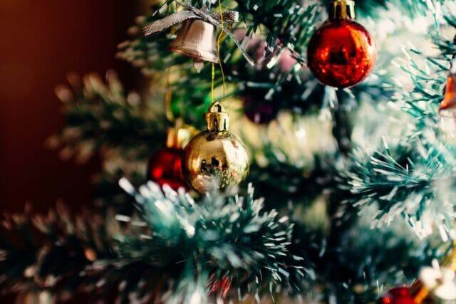 Christmas tree ornament hung