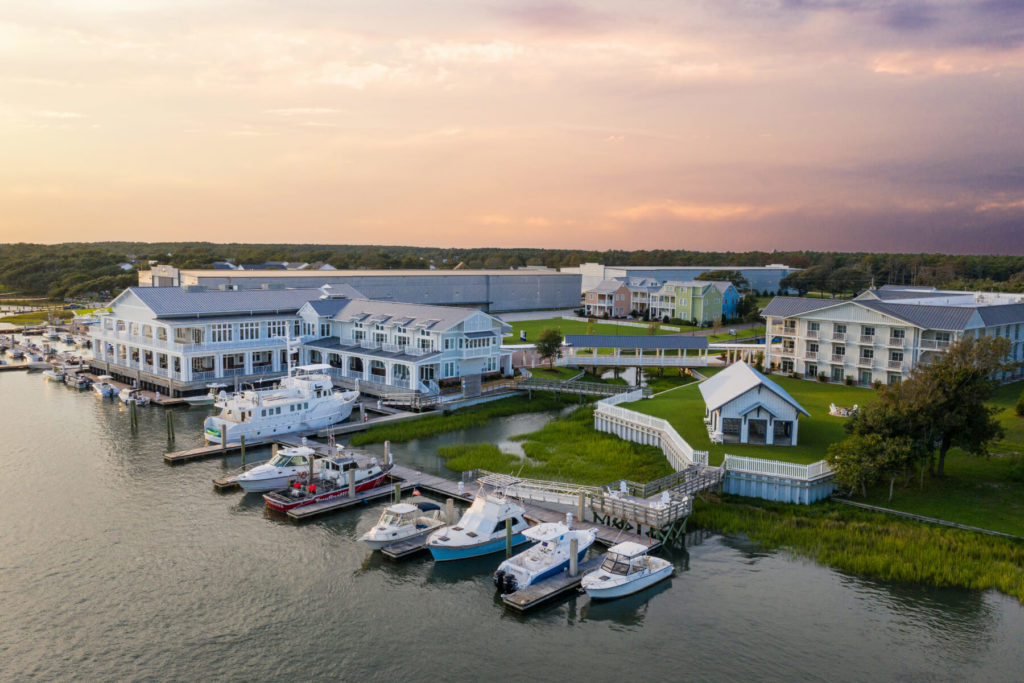 aerial view of marina and beaufort hotel
