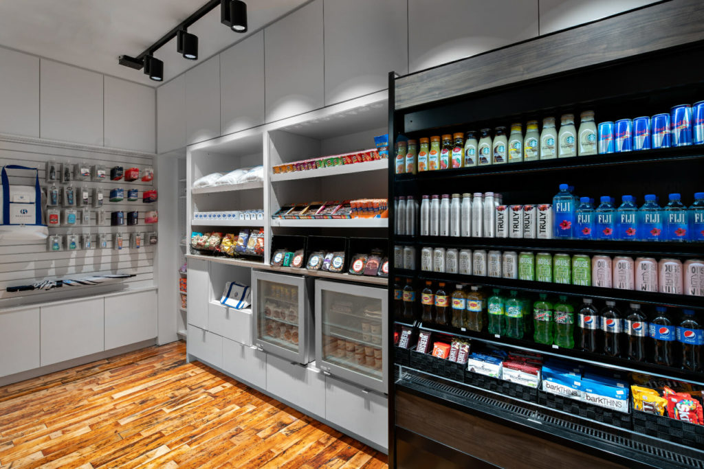 store shelves filled with snacks and drinks