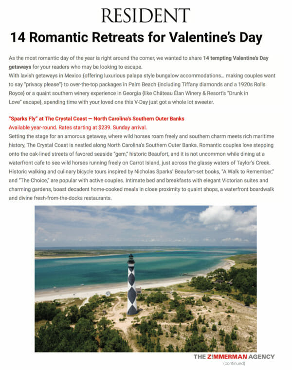 resident 14 romantic retreats for valentine's day article excerpt