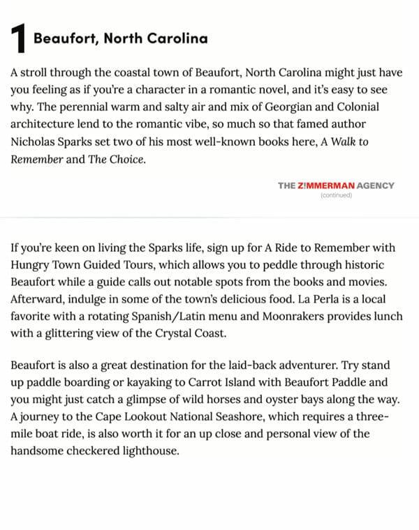 beaufort carolina description article excerpt