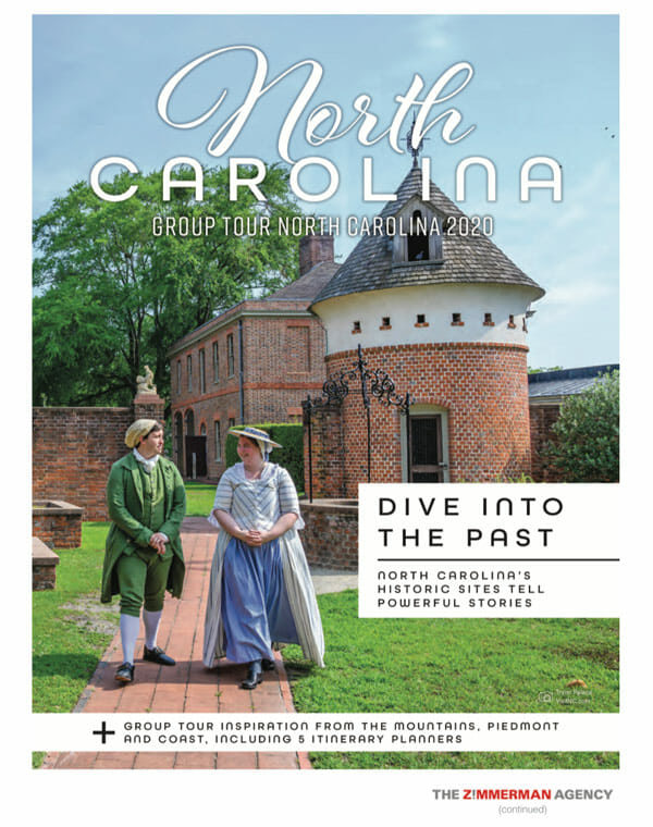 north carolina group tour cover with man and woman wearing historic outfits