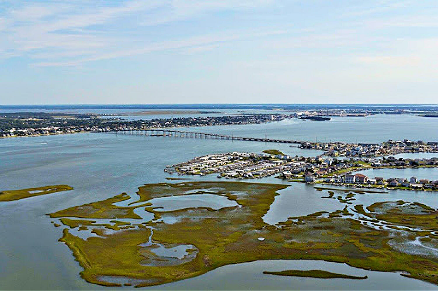 Skyline view from a Crystal Coast Air Tours in Beaufort NC