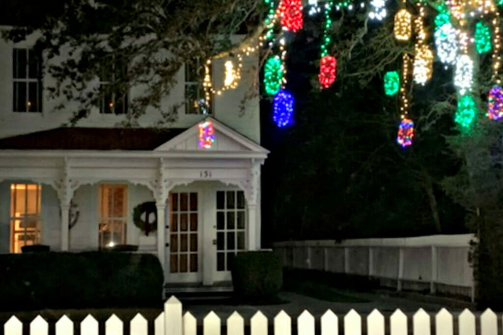 christmas lights hung on tree outside Beaufort NC home