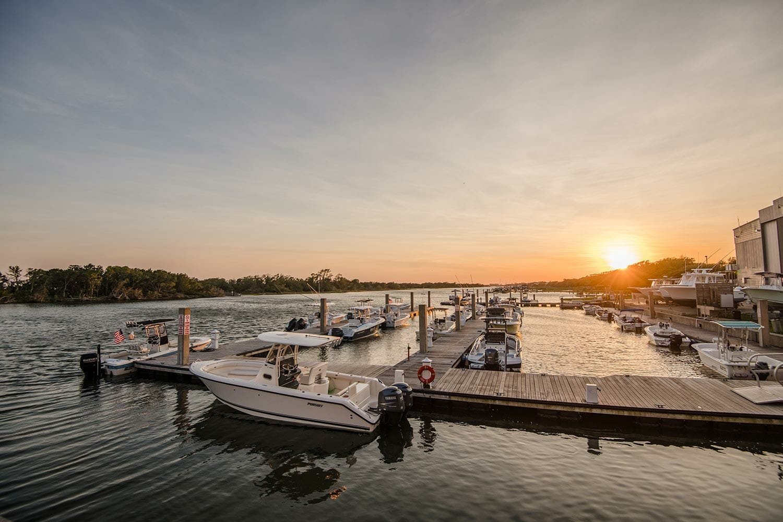 sunset over Beaufort Hotel, NC docks