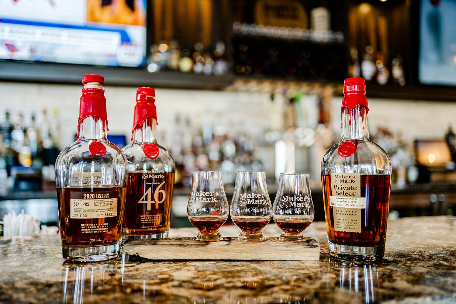 three glasses of Makers Mark Whiskey flight