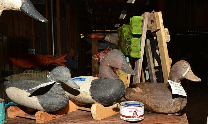 Three old wooden duck decoys