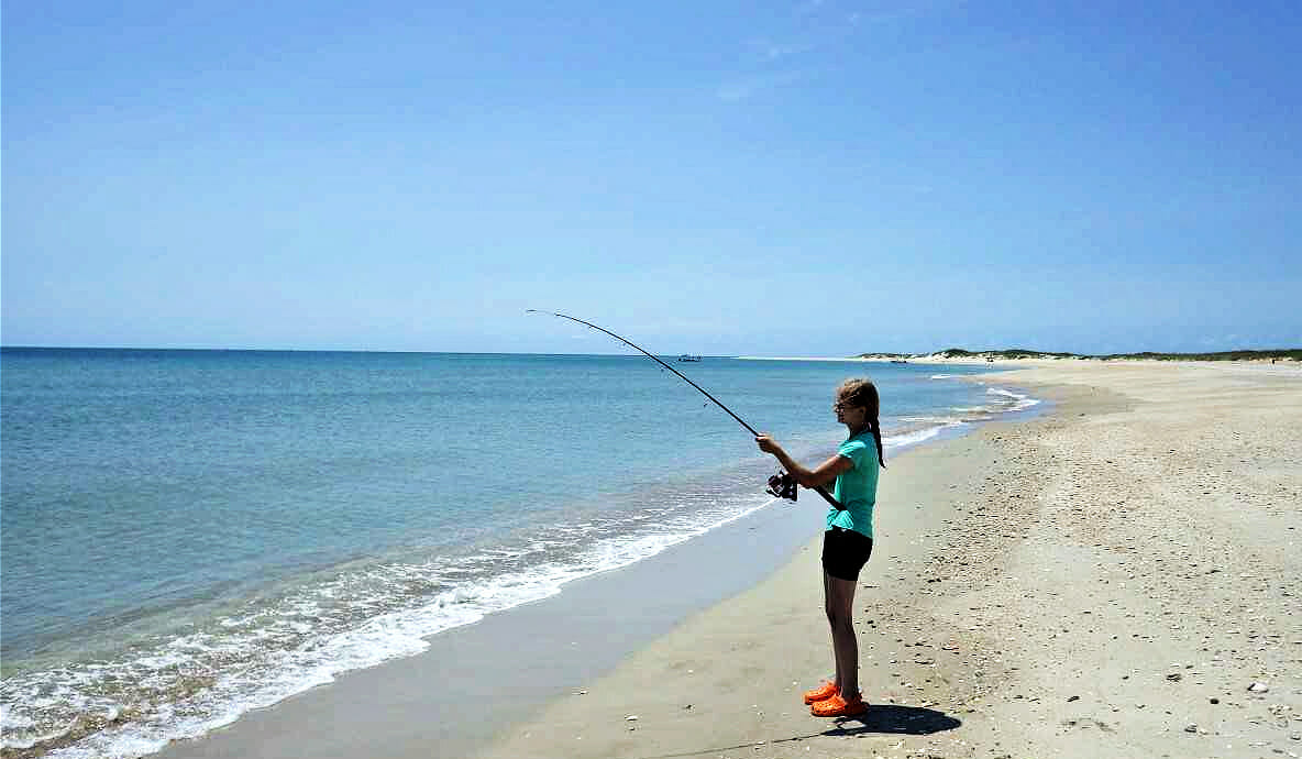Person fishing on beach